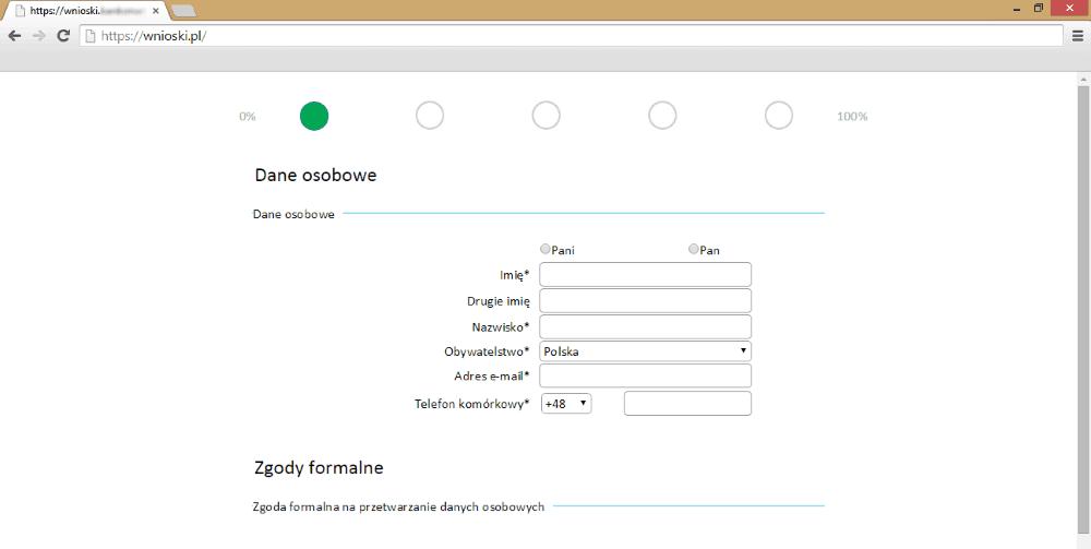 Dane osobowe w formularzu