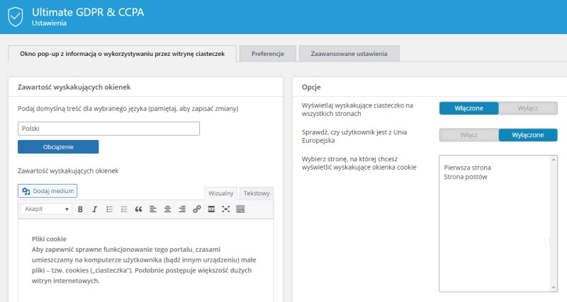 Panel Ultimate GDPR & CCPA Compliance Toolkit for WordPress
